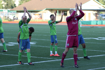 Sounders U-23 players salute the 1,300 fans that cheered them on at Tumwater Stadium in 2012.