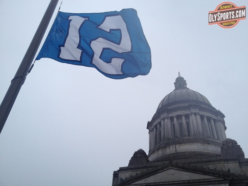Seahawks 12th Man Flag raised at the Capitol Campus on Wednesday.